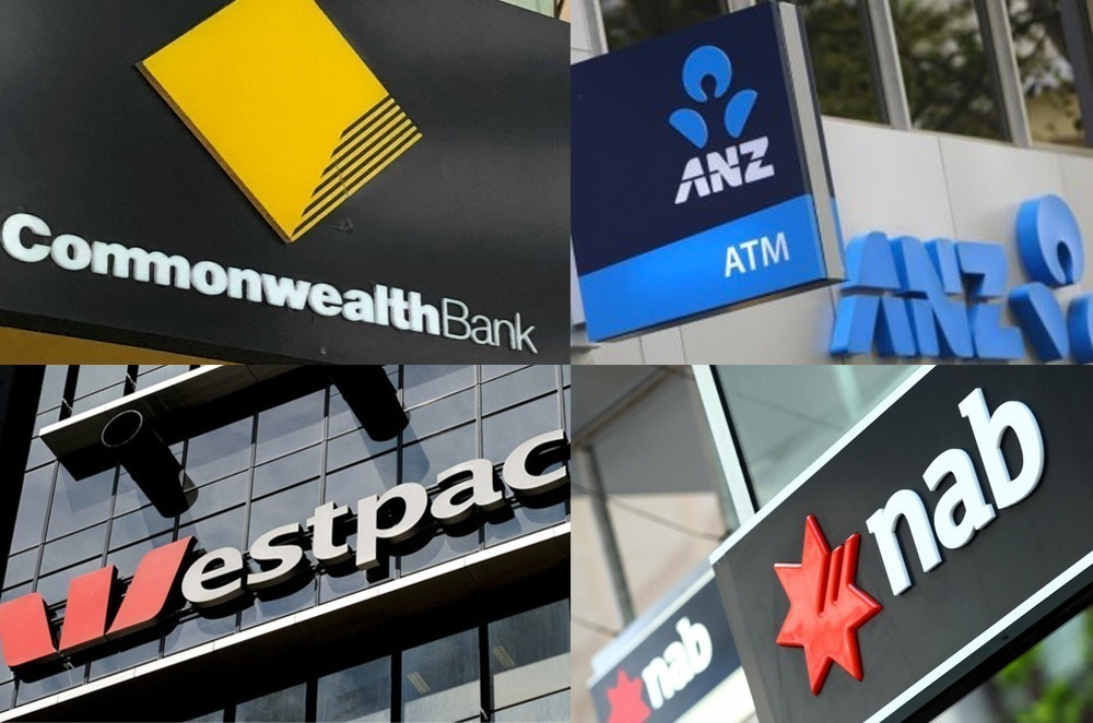 Australia's big four bank logos: Commonwealth Bank, NAB, ANZ and Westpac.
