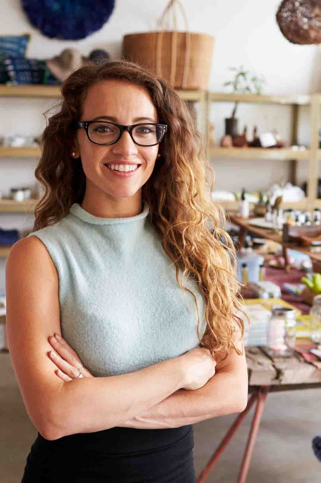 young business lady standing in her store